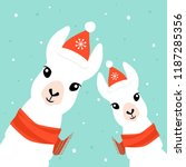 christmas card with llama.... | Shutterstock .eps vector #1187285356