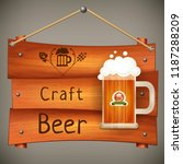 wooden pub signboard with mug... | Shutterstock .eps vector #1187288209
