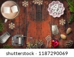 christmas decoration on rustic... | Shutterstock . vector #1187290069