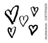 vector set of hand drawn hearts.... | Shutterstock .eps vector #1187293633