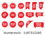 special offer tag set in red.... | Shutterstock .eps vector #1187312260
