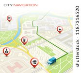 city map navigation route ... | Shutterstock .eps vector #1187316520
