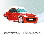 winter transport issues. hello... | Shutterstock .eps vector #1187330926