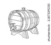 hand drawn barrel illustration... | Shutterstock .eps vector #1187339230