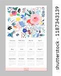calendar 2019. printable... | Shutterstock .eps vector #1187343139