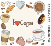 set with the theme of coffee in ... | Shutterstock .eps vector #1187345836