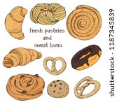 set with sweet pastries on... | Shutterstock .eps vector #1187345839