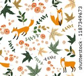 foxes and autumn orange maple... | Shutterstock .eps vector #1187349673