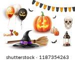 halloween symbols realistic set.... | Shutterstock .eps vector #1187354263