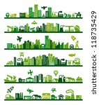 Vector Green City Icons Set On...
