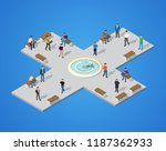 isometric park with trees and... | Shutterstock .eps vector #1187362933