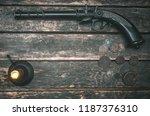 musket gun  money and burning...   Shutterstock . vector #1187376310