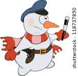 snowball the policeman. cartoon | Shutterstock . vector #118737850