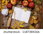 blank recipe book and food... | Shutterstock . vector #1187384266