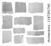 eleven pieces of torn paper on... | Shutterstock . vector #1187391760