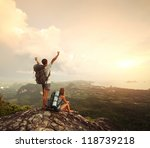 two hikers with backpacks... | Shutterstock . vector #118739218