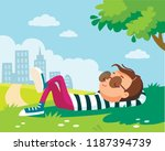 boy lying resting lies on green ... | Shutterstock .eps vector #1187394739