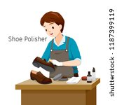 shoe polisher polishing man... | Shutterstock .eps vector #1187399119