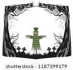 pumpkin scarecrow at halloween... | Shutterstock .eps vector #1187399179