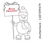 funny snowman   coloring book | Shutterstock .eps vector #1187399479