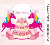 birthday party  unicorn  party... | Shutterstock .eps vector #1187399950