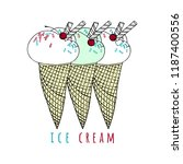 illustration with ice cream in... | Shutterstock .eps vector #1187400556