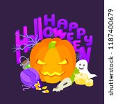 happy halloween holiday... | Shutterstock .eps vector #1187400679