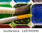 set of watercolor and brush...   Shutterstock . vector #1187443540