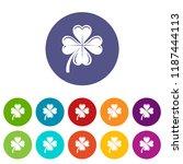 four leaf clover icons color...