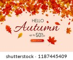 hello autumn 50  off sale.... | Shutterstock .eps vector #1187445409