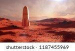 landscape on planet mars ... | Shutterstock . vector #1187455969