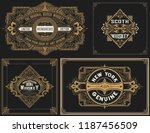 old cards set with floral... | Shutterstock .eps vector #1187456509