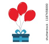 birthday gift box with red... | Shutterstock .eps vector #1187458000