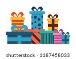 birthday gifts boxes surprise... | Shutterstock .eps vector #1187458033