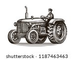 Retro Farm Tractor  Sketch....