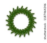 christmas wreath with glowing... | Shutterstock .eps vector #1187464246