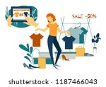 sale concept. young woman... | Shutterstock .eps vector #1187466043