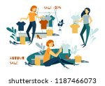 sale concept. young woman... | Shutterstock .eps vector #1187466073