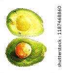avocado cut in two halves one... | Shutterstock . vector #1187468860