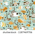 cute funny fish and worms | Shutterstock . vector #1187469706