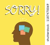 writing note showing sorry.... | Shutterstock . vector #1187470069