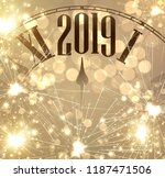 new year 2019 card with clock... | Shutterstock .eps vector #1187471506