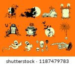 hand drawn halloween greeting... | Shutterstock .eps vector #1187479783