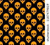 vector halloween doodle skulls... | Shutterstock .eps vector #1187479819