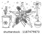 twig star with poinsettia and... | Shutterstock .eps vector #1187479873