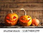 halloween pumpkin head jack... | Shutterstock . vector #1187484199