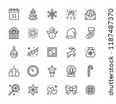 merry christmas flat line icons.... | Shutterstock .eps vector #1187487370