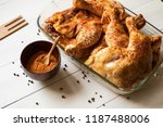roasted chicken quarters with...   Shutterstock . vector #1187488006