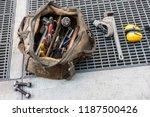 plumber workman's bag of tools...   Shutterstock . vector #1187500426