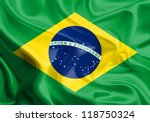 Stock photo waving fabric flag of brazil 118750324